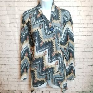 BOBEAU Chevron tribal print 1 button cardigan